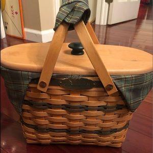 Longaberger fellowship basket w protector liner